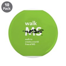 "Green- Walk MS logo 3.5"" Button (10 pack)"