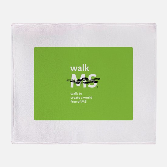 Green- Walk MS logo Throw Blanket