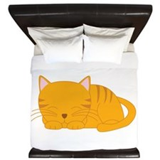 Orange Tabby Cat King Duvet