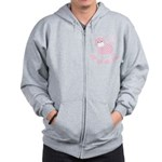 Cute Pink Kitty Cat With Spots Zip Hoodie