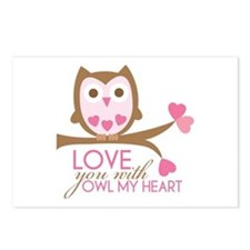 Love you with owl my heart Postcards (Package of 8