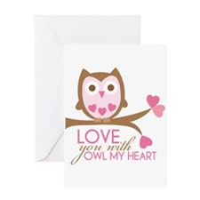Love you with owl my heart Greeting Card