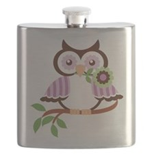 Wise Old Colorful Owl On Branch With Flower Flask