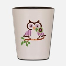 Wise Old Colorful Owl On Branch With Flower Shot G