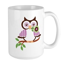 Wise Old Colorful Owl On Branch With Flower Mug