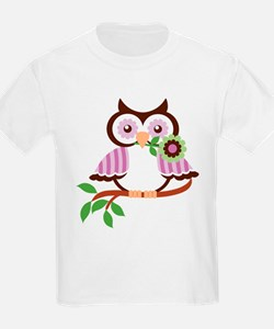Wise Old Colorful Owl On Branch With Flower T-Shir