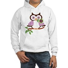 Wise Old Colorful Owl On Branch With Flower Hoodie