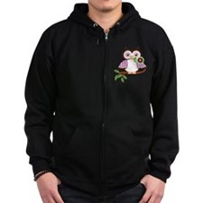 Wise Old Colorful Owl On Branch With Flower Zip Hoody