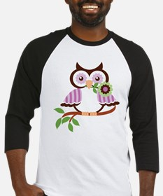 Wise Old Colorful Owl On Branch With Flower Baseba