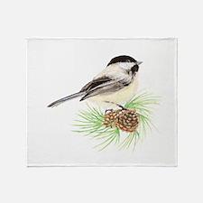 Chickadee Pine.png Throw Blanket