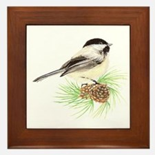 Chickadee Pine.png Framed Tile