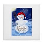 Merry Christmas Snowman Tile Coaster