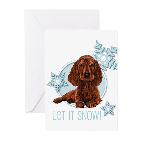 Let it Snow Irish Setter Greeting Cards (Package o