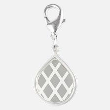 'Diamonds' Silver Teardrop Charm