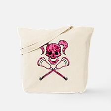 Lacrosse Pink Lady Digital Camo Skull Tote Bag
