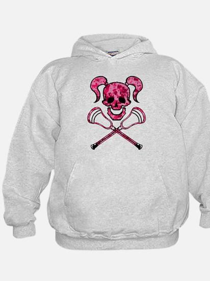 Lacrosse Pink Lady Digital Camo Skull Hoodie