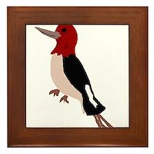 Artistic Red Headed Woodpecker Framed Tile