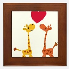 Funny Giraffe Love Framed Tile