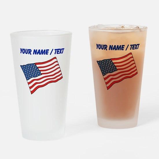 Custom American Flag Drinking Glass