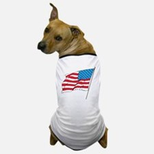 American Flag In Wind Dog T-Shirt