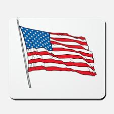 American Flag In Wind Mousepad