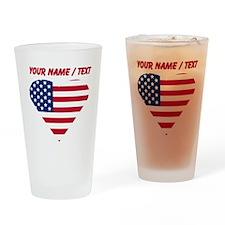Custom American Flag Heart Drinking Glass