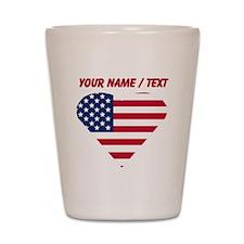 Custom American Flag Heart Shot Glass