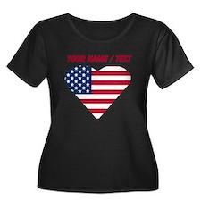 Custom American Flag Heart Plus Size T-Shirt