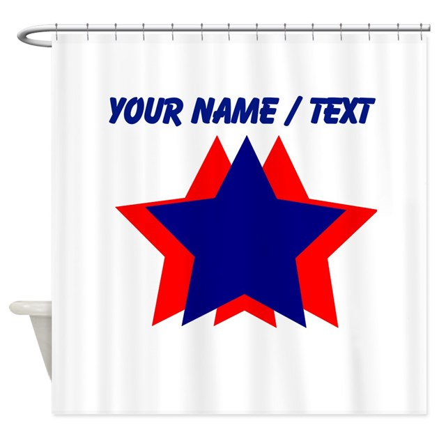 Custom Blue And Red Stars Shower Curtain By FourthofJulyGifts
