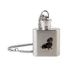 Black-Tan Dachshund Flask Necklace