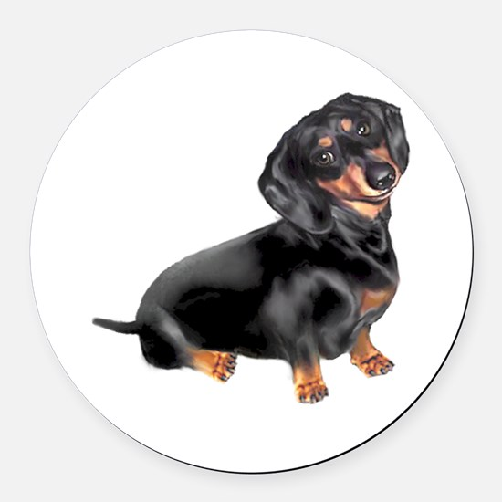 Black-Tan Dachshund Round Car Magnet