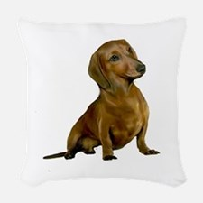 Brown/Red Dachshund Woven Throw Pillow