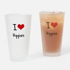 I Love Hippies Drinking Glass