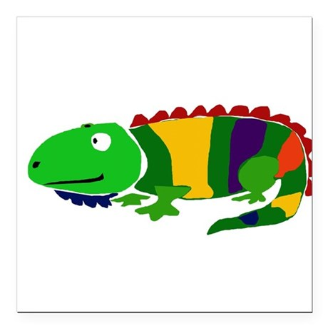 "Funky Colorful Iguana Art Square Car Magnet 3"" x 3"