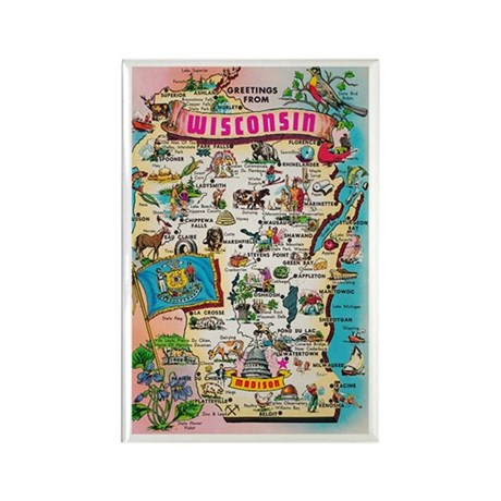wisconsin map Rectangle Magnet