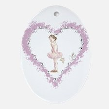 Little Ballerina with Rose Oval Ornament