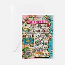 wisconsin map Greeting Cards (Pk of 10)