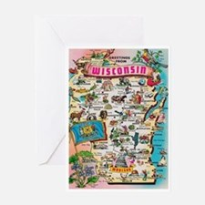 wisconsin map Greeting Card
