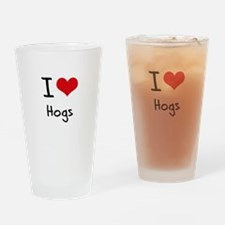 I Love Hogs Drinking Glass