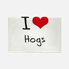 I Love Hogs Rectangle Magnet