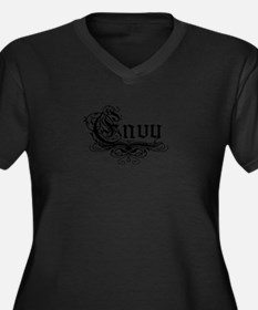 7 Sins Envy Women's Plus Size V-Neck Dark T-Shirt