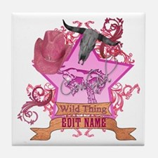 CowGirl Wild Thing edit name text Pink Hat Tile Co