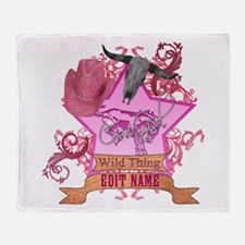 CowGirl Wild Thing edit name text Pink Hat Throw B
