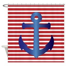 Blue Anchor On Striped Background Shower Curtain