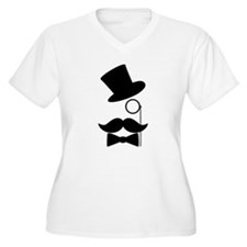 Funny Mustache Face With Monocle Plus Size T-Shirt