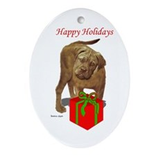 bullmastiff holiday design Oval Ornament