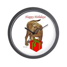 bullmastiff holiday design Wall Clock