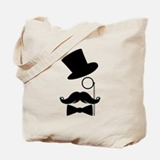 Funny Mustache Face With Monocle Tote Bag