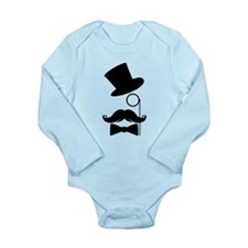 Funny Mustache Face With Monocle Body Suit