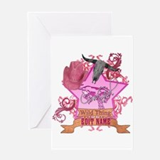 CowGirl Wild Thing edit name text Pink Hat Greetin